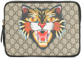 Gucci Angry Cat print GG Supreme laptop case - men - Leather - One Size
