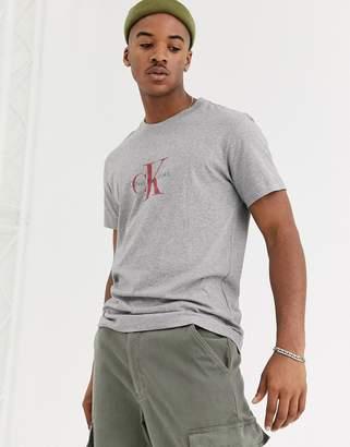 Calvin Klein Jeans Khakis capsule chest logo t-shirt in grey marl