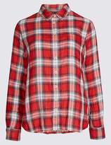 Marks and Spencer Cotton Blend Checked Long Sleeve Shirt