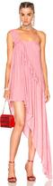 Ashish Beaded Asymmetrical Ruffle Dress in Pink.