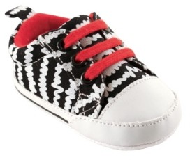 Luvable Friends Canvas Sneakers, Black with White Scribbles, 0-18 Months