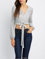 Charlotte Russe Striped Button-Down Tie-Front Crop Top
