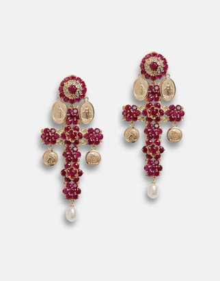 Dolce & Gabbana Family Yellow Gold Cross Pendant Earrings With Rubies