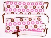 Bacati Modern Dots/Stripes Pink/Chocolate Bumper Pad