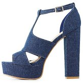 Charlotte Russe Bamboo Denim Platform Dress Sandals
