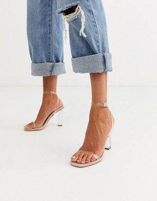 ASOS DESIGN Hark clear barely there block heeled sandals