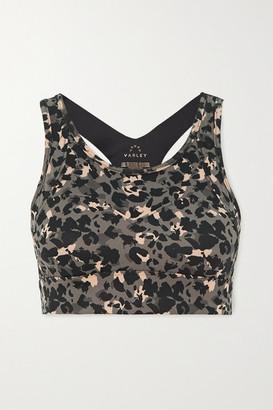 Varley Bassett Leopard-print Stretch Sports Bra - Black