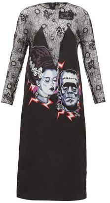 Prada Frankenstein-print Lace Dress - Womens - Black Multi