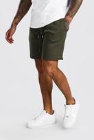 boohoo Mens Green Basic Mid Length Jersey Shorts, Green