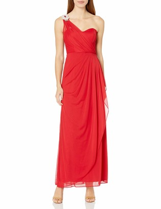 Xscape Evenings Women's One Shoulder Long Gown with Embellishment