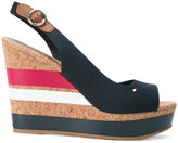 Tommy Hilfiger striped wedged sandals - women - Cork/Leather/Tactel/rubber - 36