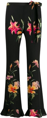Etro Floral Print Frill Hem Trousers