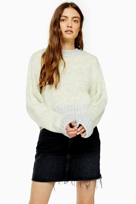Topshop Womens Yellow Knitted Twist Deep Ribbed Jumper - Yellow