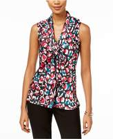 Nine West Printed Tie-Front Shell