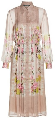 Alberta Ferretti Stripes & Flowers Silk Shirtdress