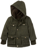 Urban Republic Faux Shearling Cotton Twill Safari Jacket (Baby Boys)