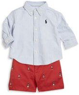 Ralph Lauren Babys Three-Piece Oxford Shirt, Belt and Embroidered Twill Shorts Set