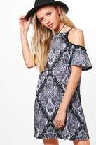 boohoo Niamh Cold Shoulder Pom Pom Paisley Shift Dress