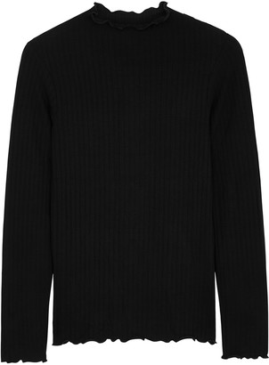 Mads Norgaard Trutte black ribbed stretch-jersey top