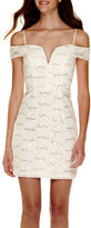 City Triangles Sleeveless Off-the-Shoulder Sequin Lace Dress - Juniors