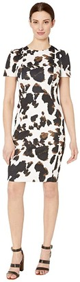 Calvin Klein Short Sleeve Animal Print Sheath Dress (Black Multi) Women's Dress