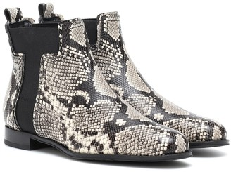 Tod's Snake-print leather ankle boots