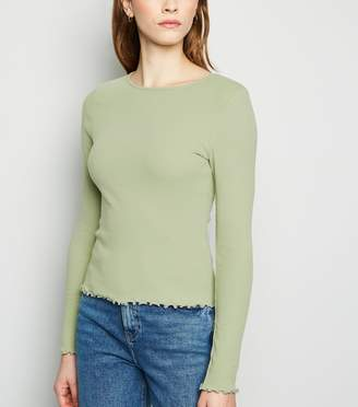 New Look Frill Ribbed Long Sleeve Top