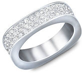 Swarovski Vio Crystal and Silvertone Ring Size 8