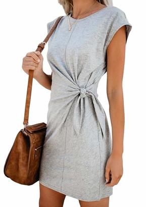 YMING Women's Cozy Casual Dress Special Waist Knot Dress High Waist Loose Fit Dress Grey S