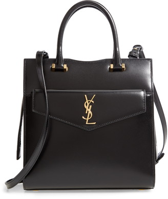 Saint Laurent Small Uptown Cabas Leather Satchel