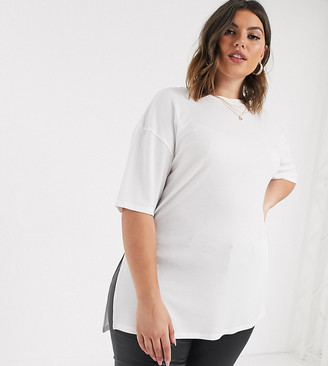 Asos DESIGN Curve relaxed longline t-shirt in rib with side splits in white