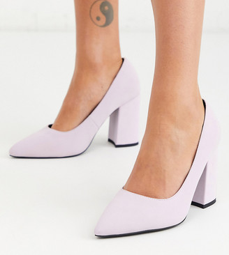 London Rebel wide fit block heel pointed shoes