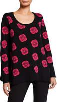 Joan Vass Plus Size Falling Rose Intarsia Cotton Sweater