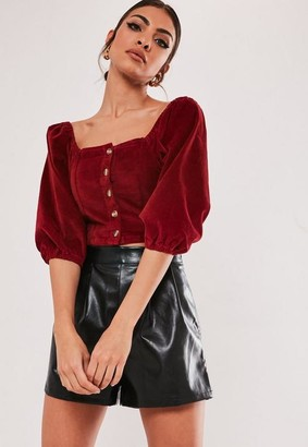 Missguided Red Velvet Balloon Sleeve Crop Top
