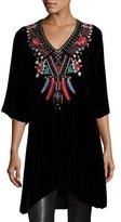 Johnny Was Ava Embroidered Velvet Tunic/Dress, Black