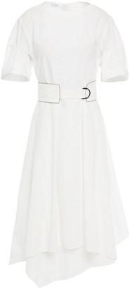 Brunello Cucinelli Asymmetric Belted Cotton-poplin Dress