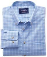 Classic Fit Non-iron Windowpane Check Sky Blue Shirt