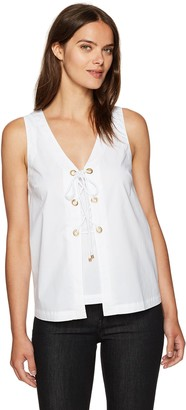 Trina Turk Women's Geary Sleeveless Lace Up Polished Shirting Top
