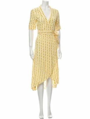 Ganni Floral Print Midi Length Dress Yellow