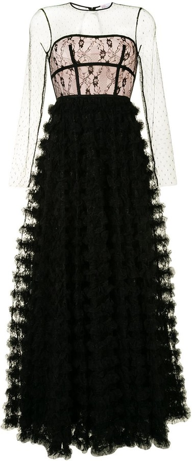 RED Valentino Lace Ruffle Gown
