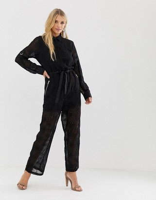 Religion sheer jumpsuit in broderie anglaise-Black