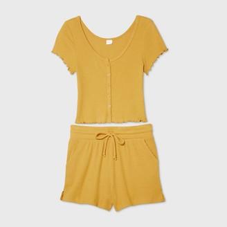 Women's Cozy Rib-Knit Short Sleeve Pajama Set - ColsieTM