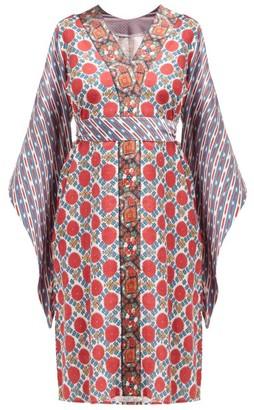 D'Ascoli Baku Geometric-print Tie-waist Cotton Dress - Womens - Red Print