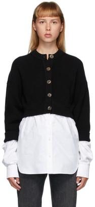 alexanderwang.t Black Bi-Layer Oxford Shirting Cardigan