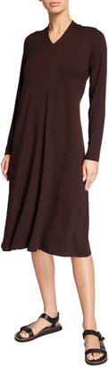 Eileen Fisher Plus Size V-Neck Long-Sleeve Viscose Jersey Dress