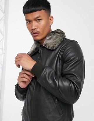 Schott LC930D Pilot premium leather jacket with detachable faux fur collar in brown
