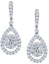 Ice 7/8 CT TW Diamond 14K White Gold Teardrop Dangle Earrings