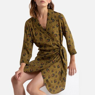 Vila Printed Wrapover Dress with 3/4 Length Sleeves