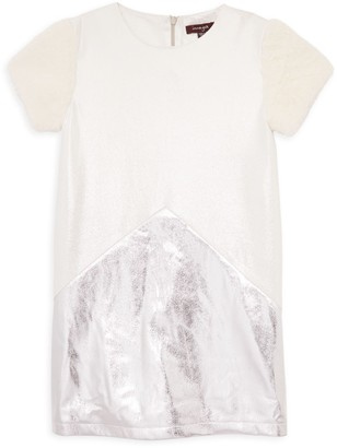 Imoga Little Girl's & Girl's Faux Fur, Faux Suede & Metallic Shift Dress
