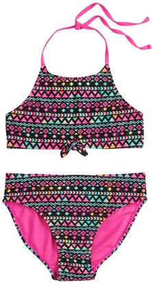 So Girls 7-16 Wave Pattern Skinny Tie Tankini 2-Piece Swimsuit Set